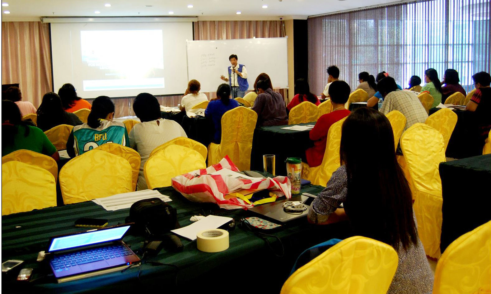 Mr. Joel Cervantes, member of the Regional Autonomy Speaker's Bureau shares the history of regional autonomy in the Cordilleras during the Training Orientation on FDS Module of Parent Leaders for Cordillera Autonomy on May 3-6, 2016 at the Baguio Crown Legacy Hotel.