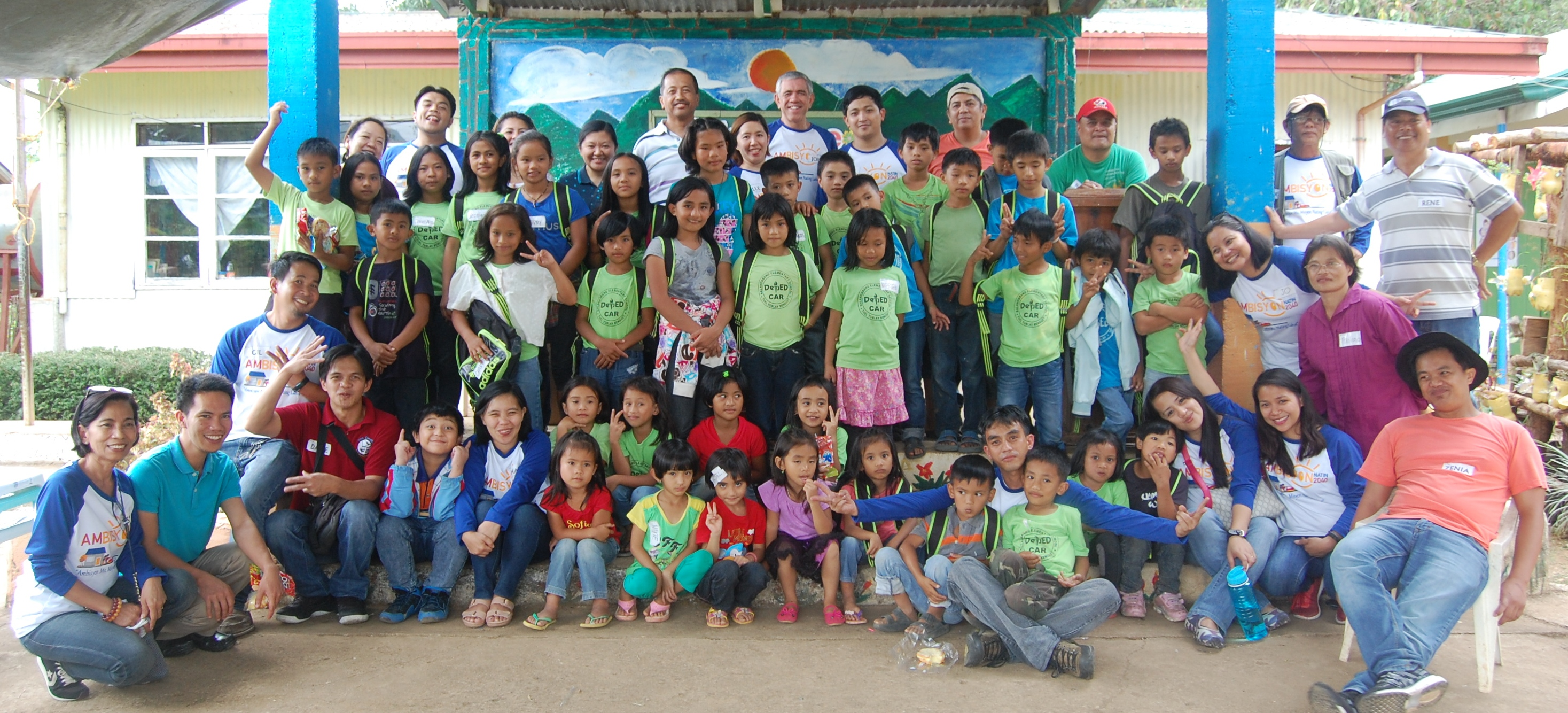 The NEDA-CAR staff with the grade school pupils of Pangablan Elementary School, Itogon, Benguet, after a fun-filled day of sharing.