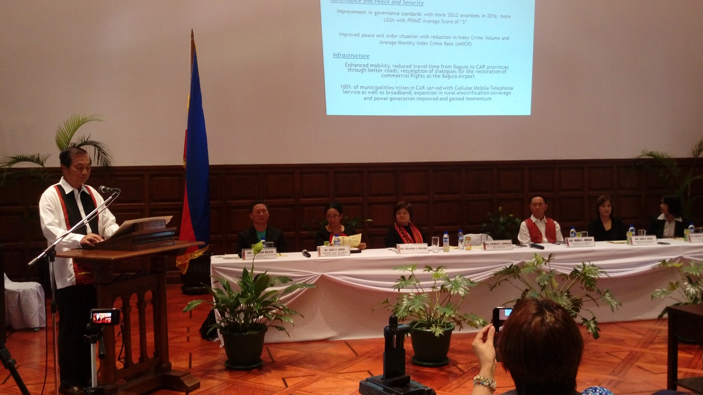 RDC-CAR Chairman and Baguio City Mayor Mauricio G. Domogan delivers the State of the Region at Mansion House during the Cordillera Mayor's Summit last July 7, 2017 at Mansion House
