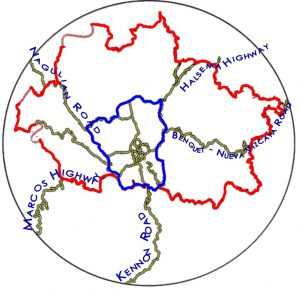The BLISTT Outer Circumferential Road (outlined in red), and the Inner Circumferential Road (in blue)